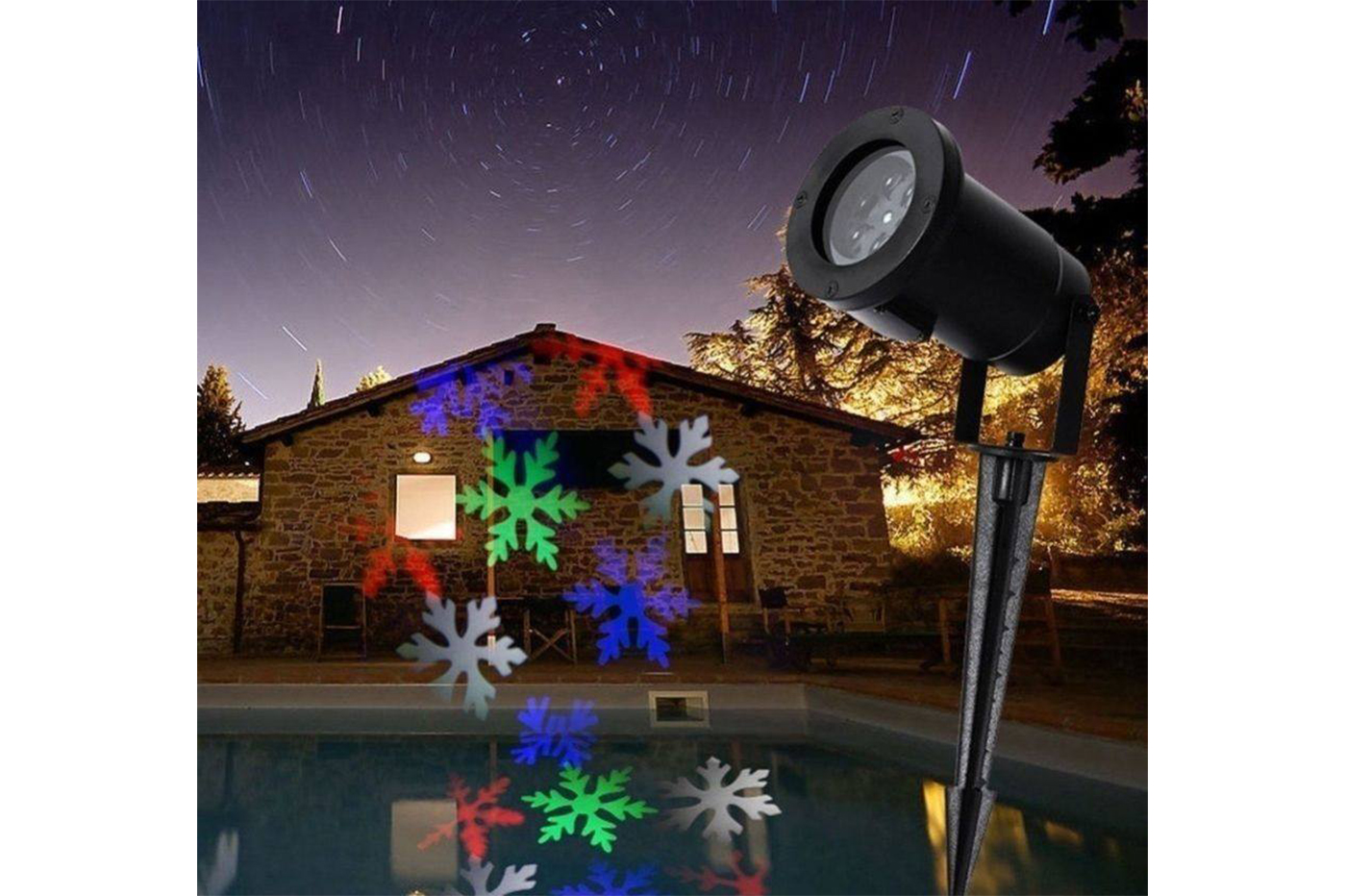 Proiettore Luci Natale Giardino.Faretto Led Picchetto Proiettore Luci Natale Fantasia 6 In 1 Giardino Ap9005
