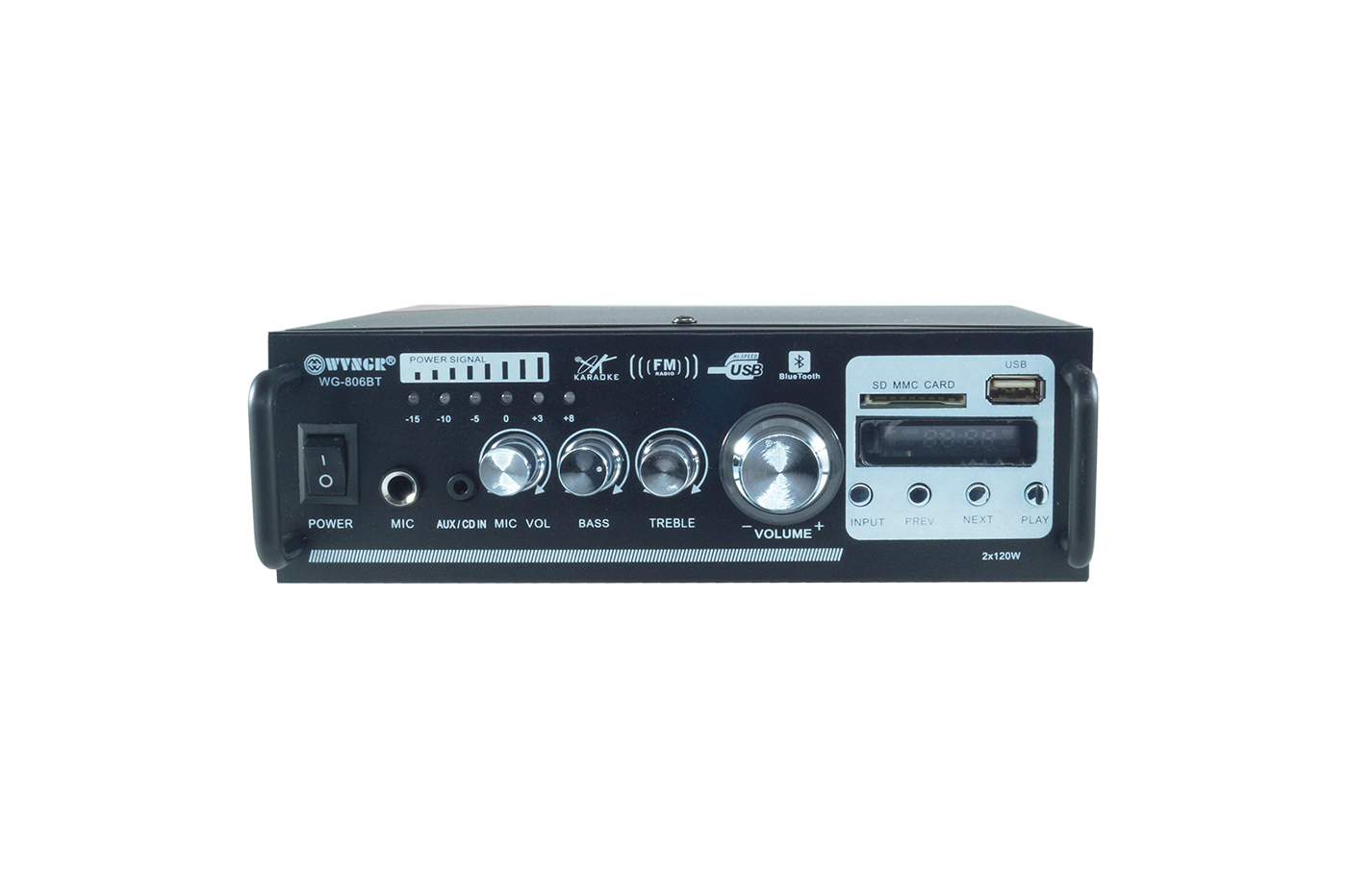 AMPLIFICATORE AUDIO STEREO 2 CANALI BLUETOOTH USB SD MP3 KARAOKE WG-806BT