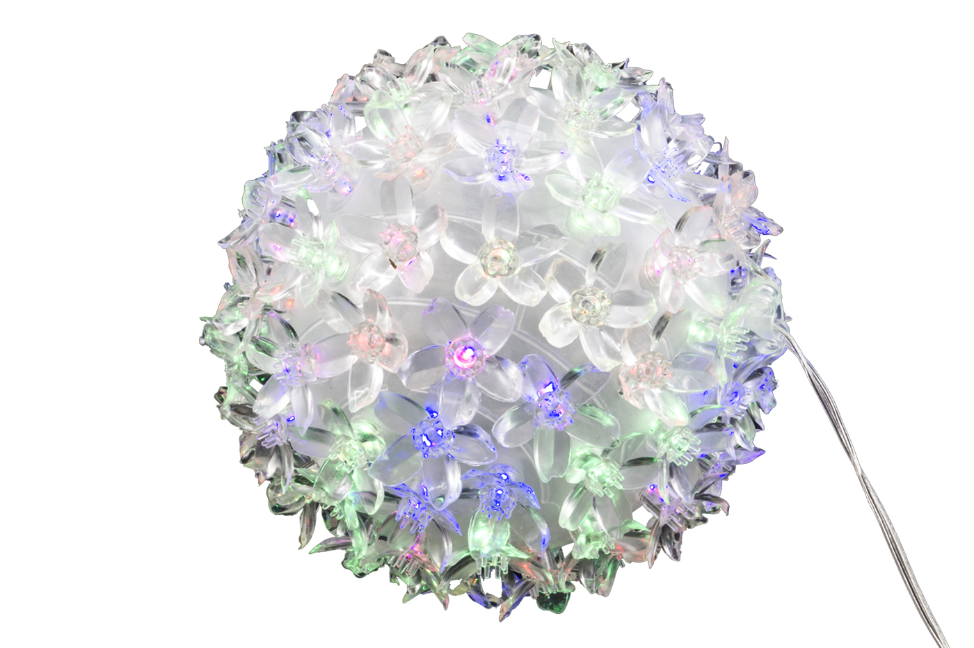 PALLA 50 LED SFERA LUMINOSA NATALE DECORAZIONI FIORI LUCI NATALIZIE MULTICOLOR