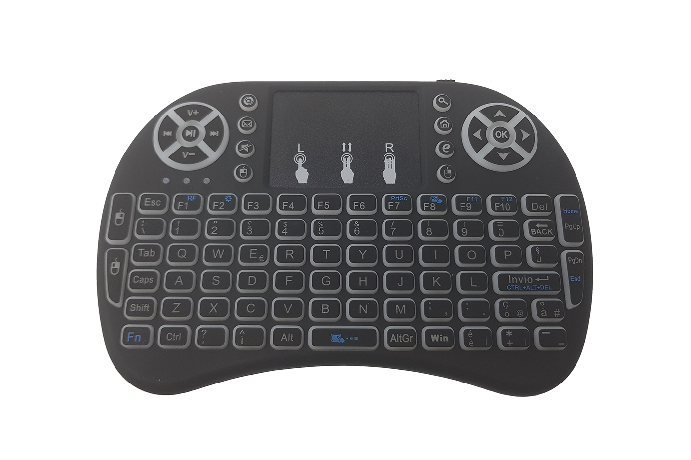 MINI TASTIERA QWERTY MOUSE TOUCHPAD PC ANDROID TV TABLET RETROILLUMINATA