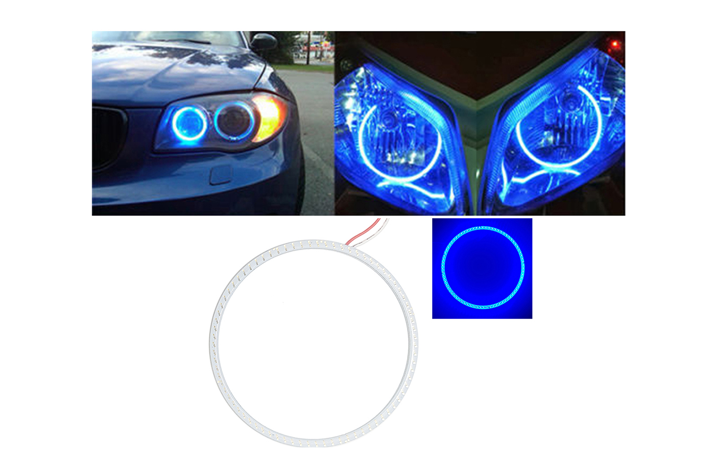 Angel eyes led cerchio luminoso colore blu anello luce auto moto 110MM GQ-1110