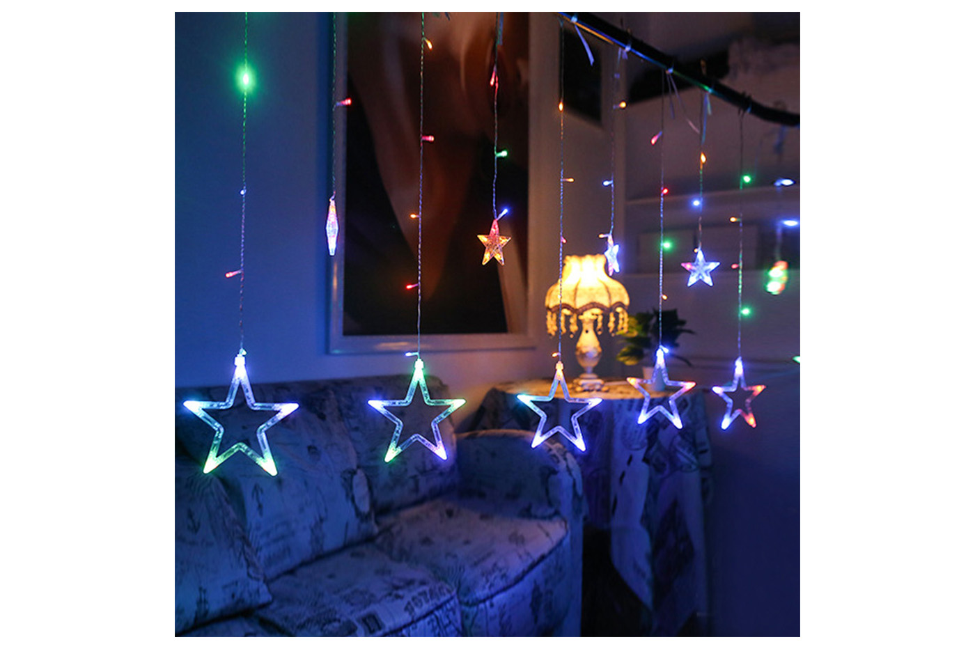 Catena di luci led e stelle rgb luminose natalizie tenda luminosa colorate 138