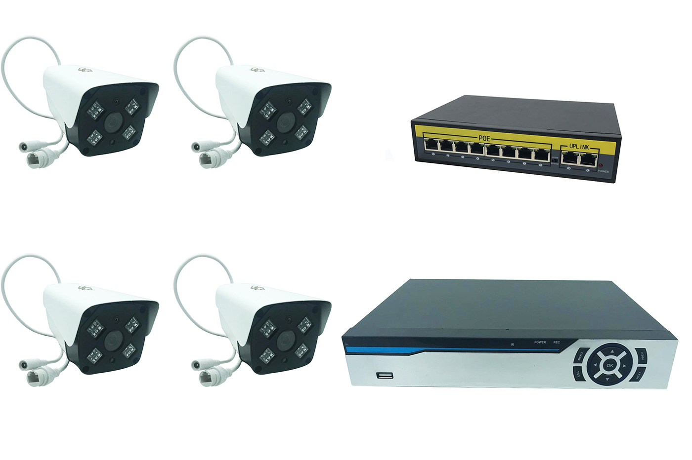 Kit videosorveglianza dvr 4ch nvr ahd 4 telecamere IP led array switch Poe 8port