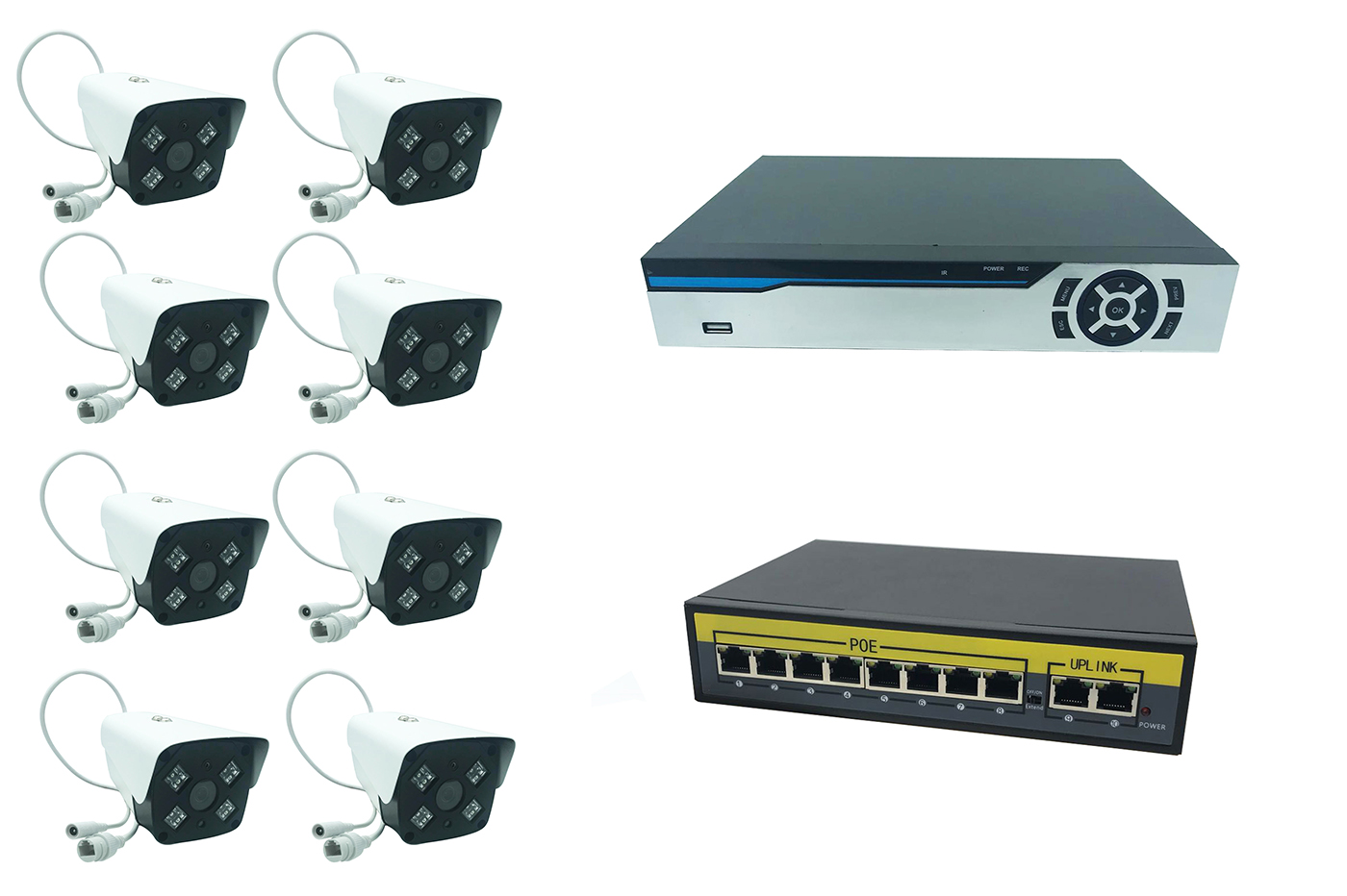 Kit videosorveglianza dvr 8ch nvr ahd 8 telecamere IP led array switch Poe 8port