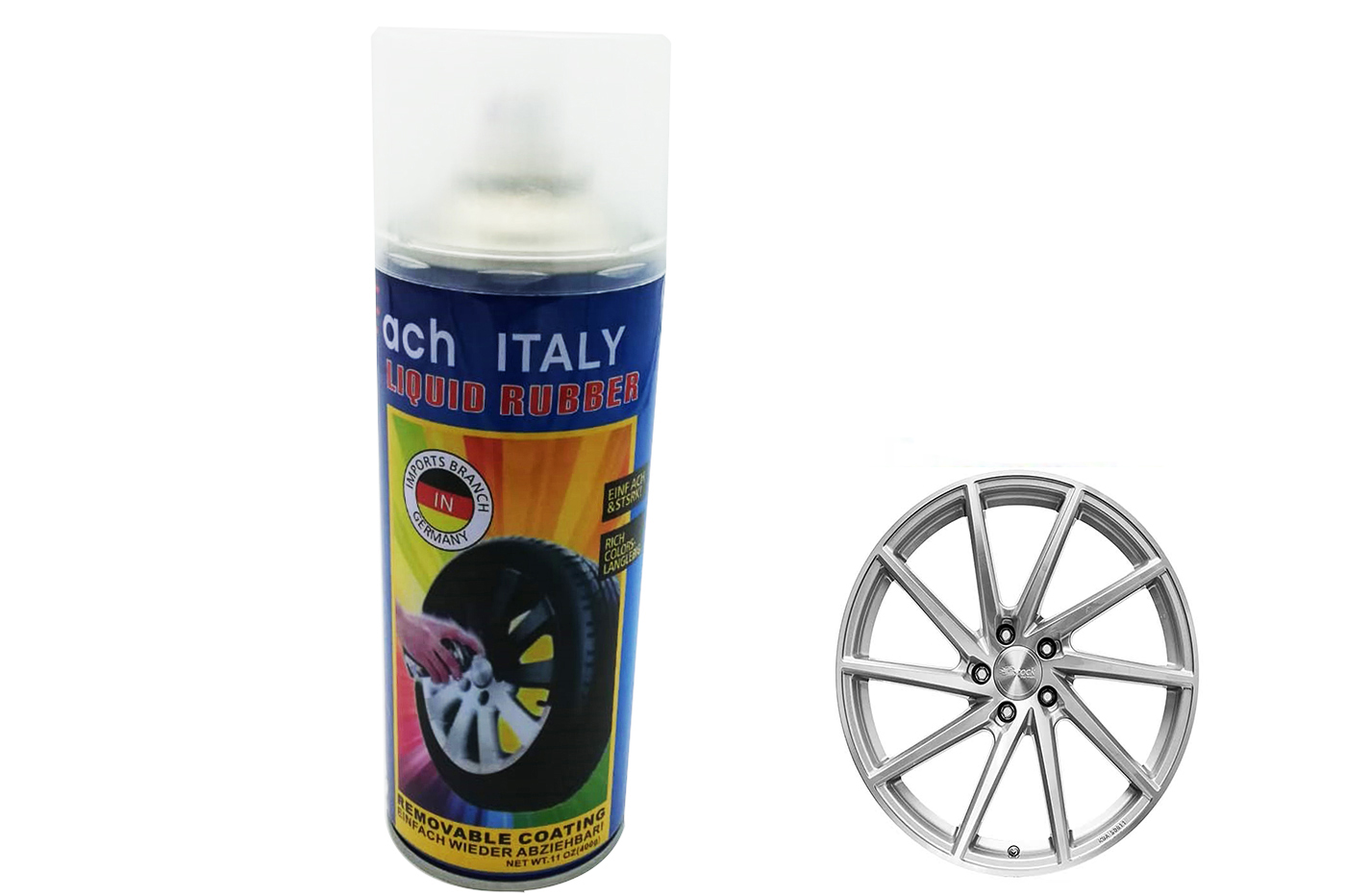 Spray vernice pittura cerchi auto pellicola removibile flash silver KC36 400g