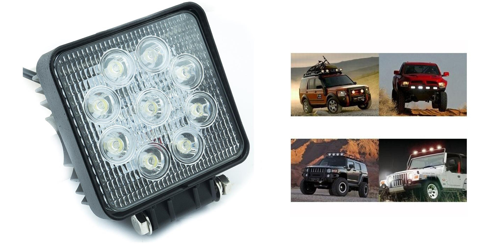 Faro led luce supplementare faro auto fuoristrada Suv quadrato 9 led 48w