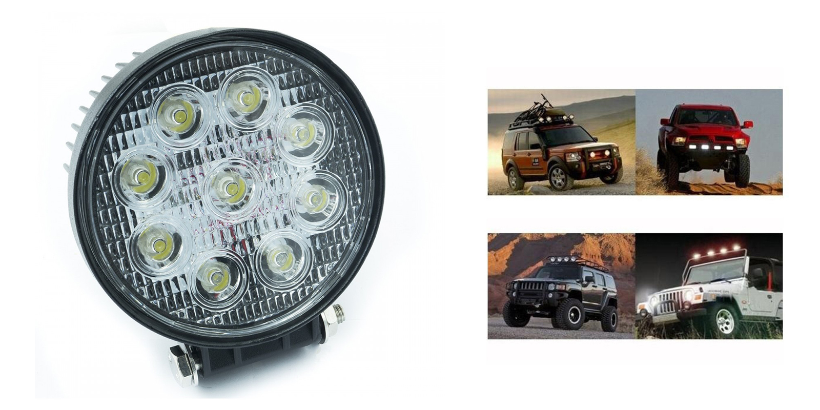 Faro led luce supplementare faro auto fuoristrada Suv tondo 9 led 48w