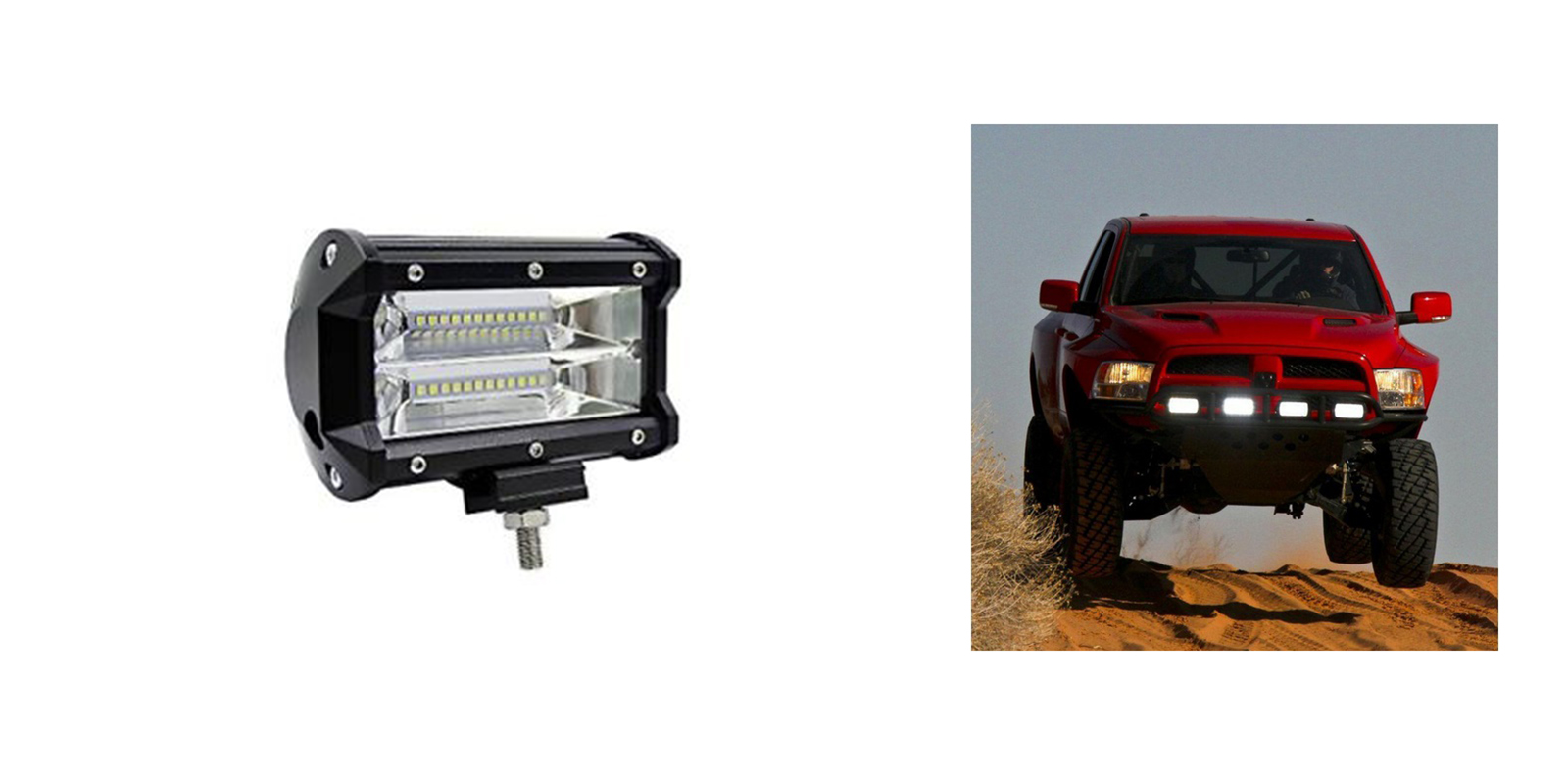 Faro led supplementare faro auto fuoristrada Suv rettangolare 24 led 72w