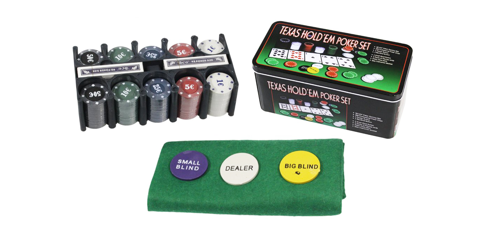 Set di poker texas holdem in scatola di metallo 200 fiches