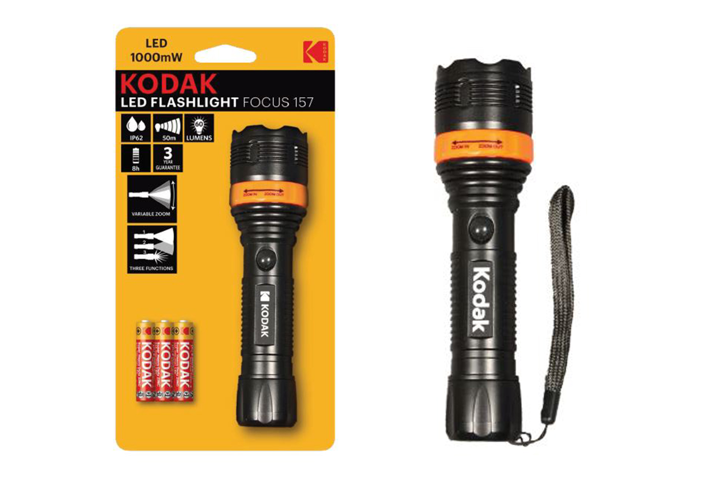 Kodak Torcia LED a luce variabile 60 lumen focus 157 flashlight 30413191