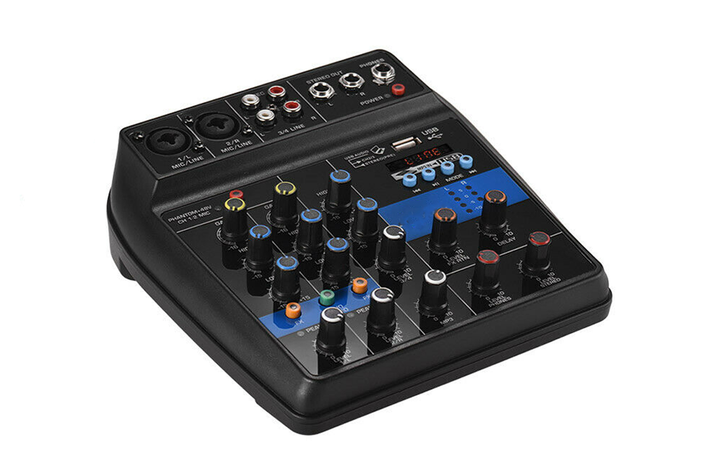 Consolle mixer audio professionale 4 canali usb karaoke mic/line mp3 F2-MB