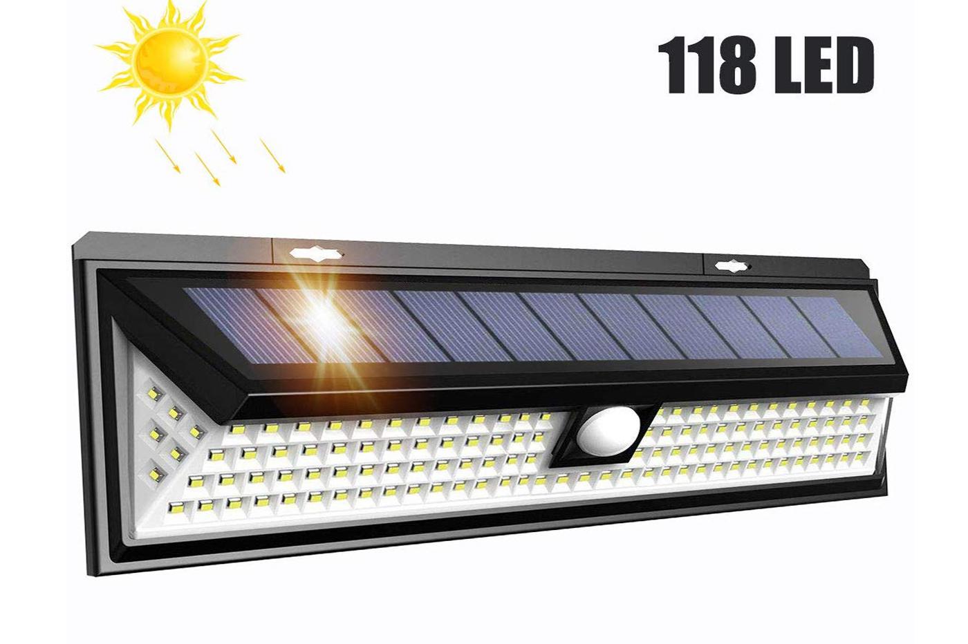 FARETTO 24 LED SOLARE ESTERNO LAMPADA GIARDINO FARETTI SENSORE MOVIMENTO SC0