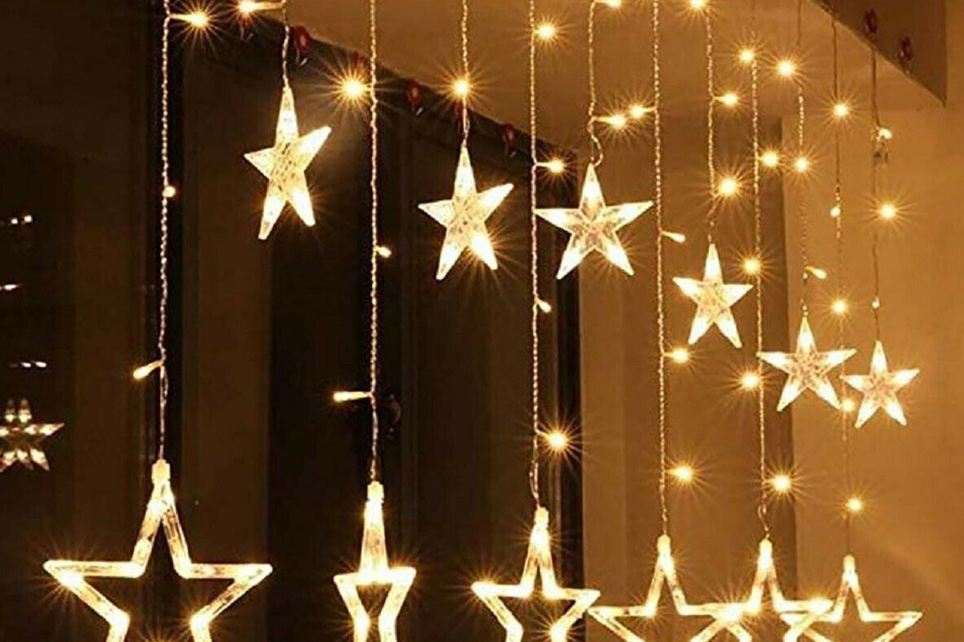 Luci di natale catena led stelle luce naturale luminose tenda luminosa decori