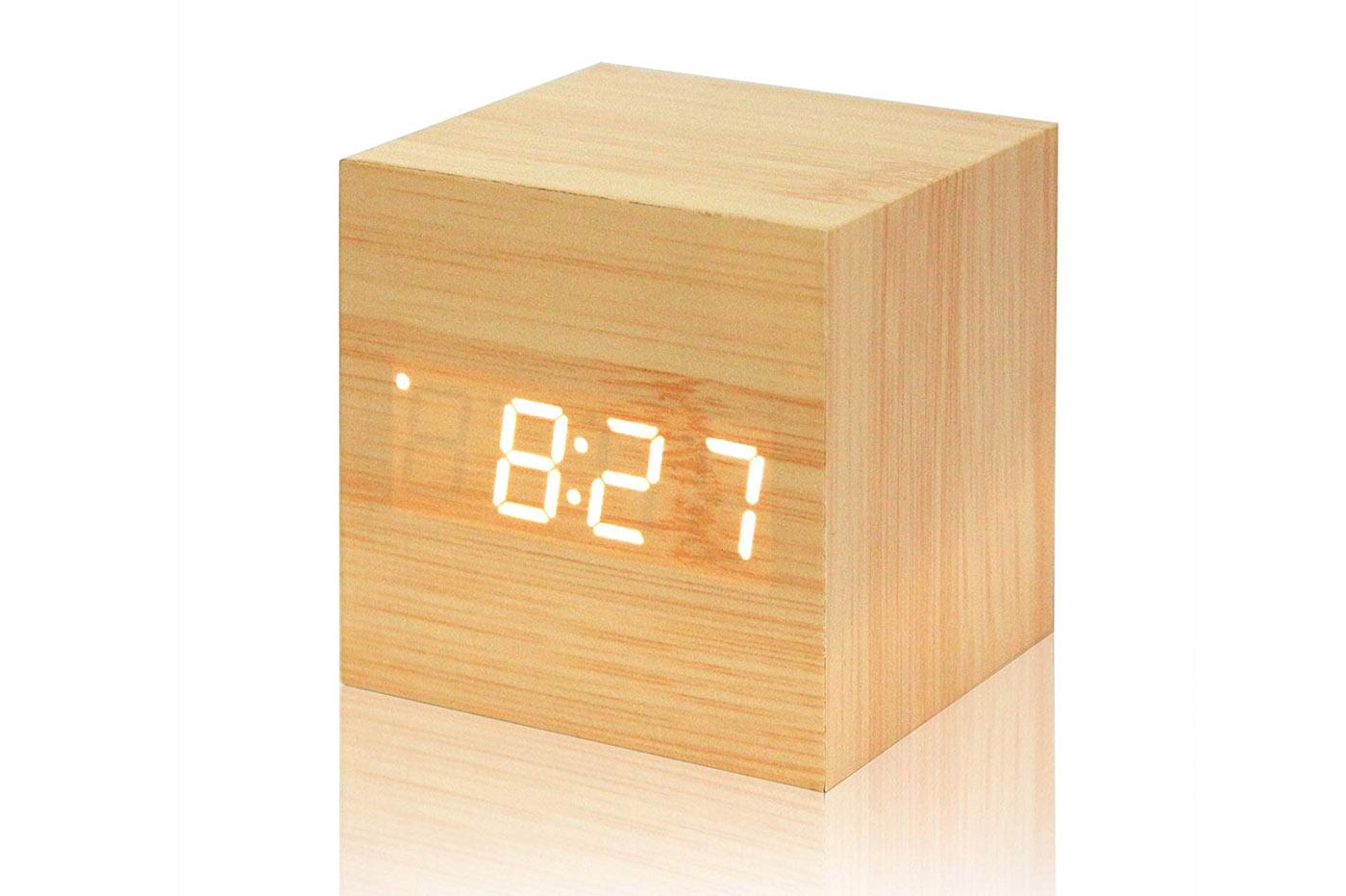 DFCD Moda Creativa Formula Matematica Sveglia Scienza e Tecnologia Orologio da Tavolo Sveglia in Legno Orologio da Comodino Orologio Pigro Sveglia Decorazione di mobili Orologio da Tavolo Silenzioso