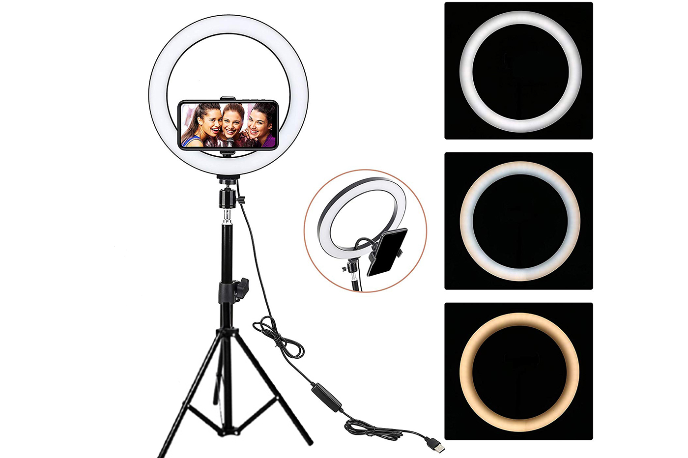 Anello luminoso con treppiede supporto cellulare selfie video trucco led 30cm