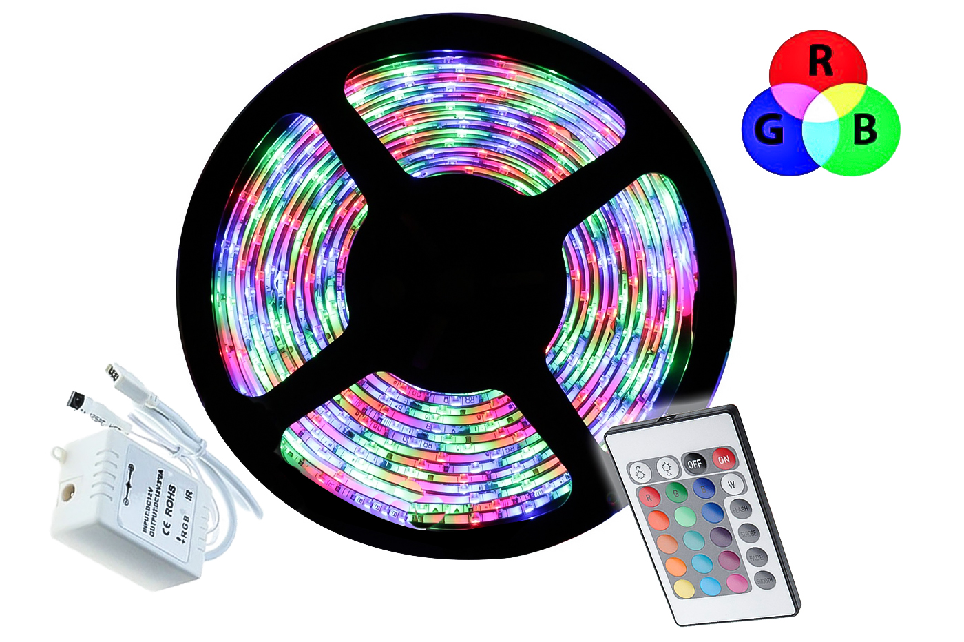 Striscia led rgb 5m adesiva 5050 multicolor telecomando bobina flessibile basic
