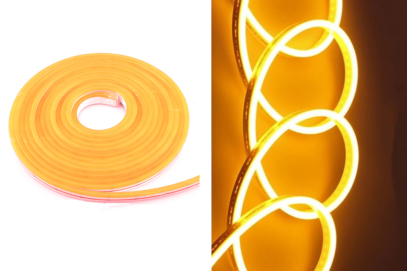 Striscia led neon 5m tubo flessibile luminoso 120led strip led bobina arancione