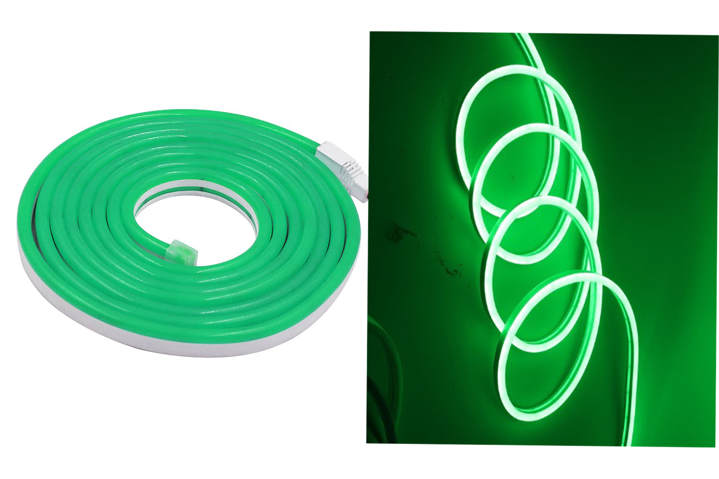Striscia led neon 5m tubo flessibile luminoso 120led strip led bobina verde