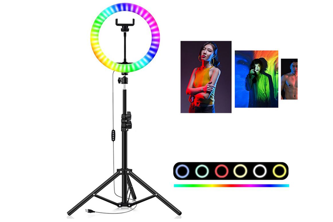 Anello luminoso led multicolor treppiede 26cm supporto cellulare selfie video