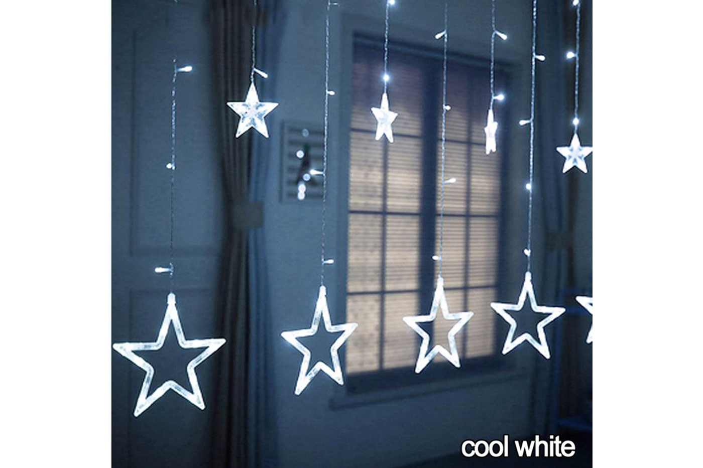 Catena luminosa led stelle luce fredda 2.5m allungabile decorazioni luci natale