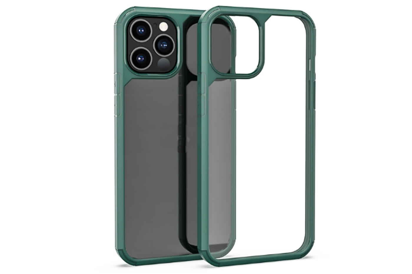 "Cover custodia compatibile IP 12 PRO 6.1"" trasparente cornice verde rigida"