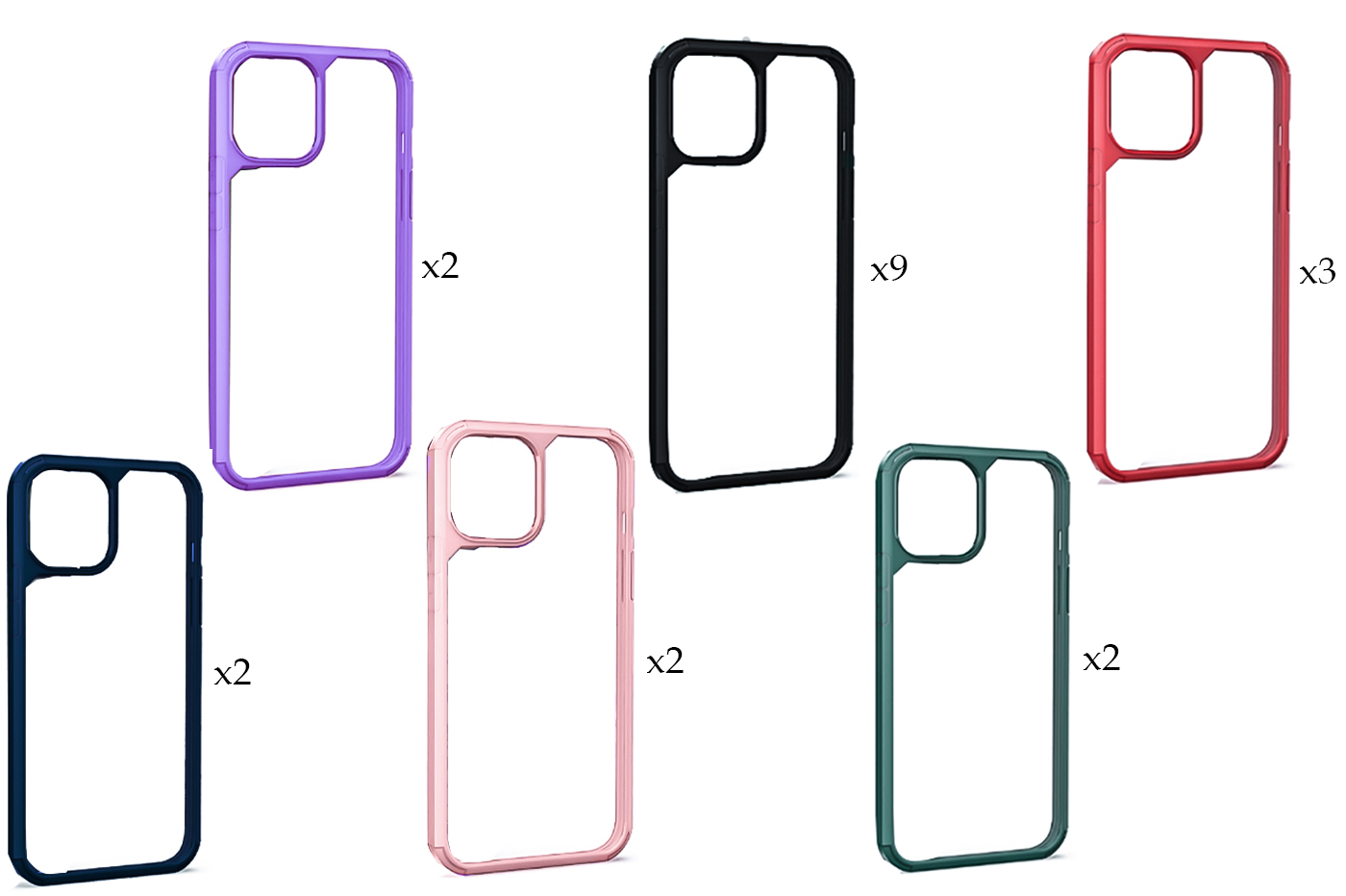 "20PZ Cover custodia compatibile iPhone 12 PRO 6.1"" trasparente cornice rigida"