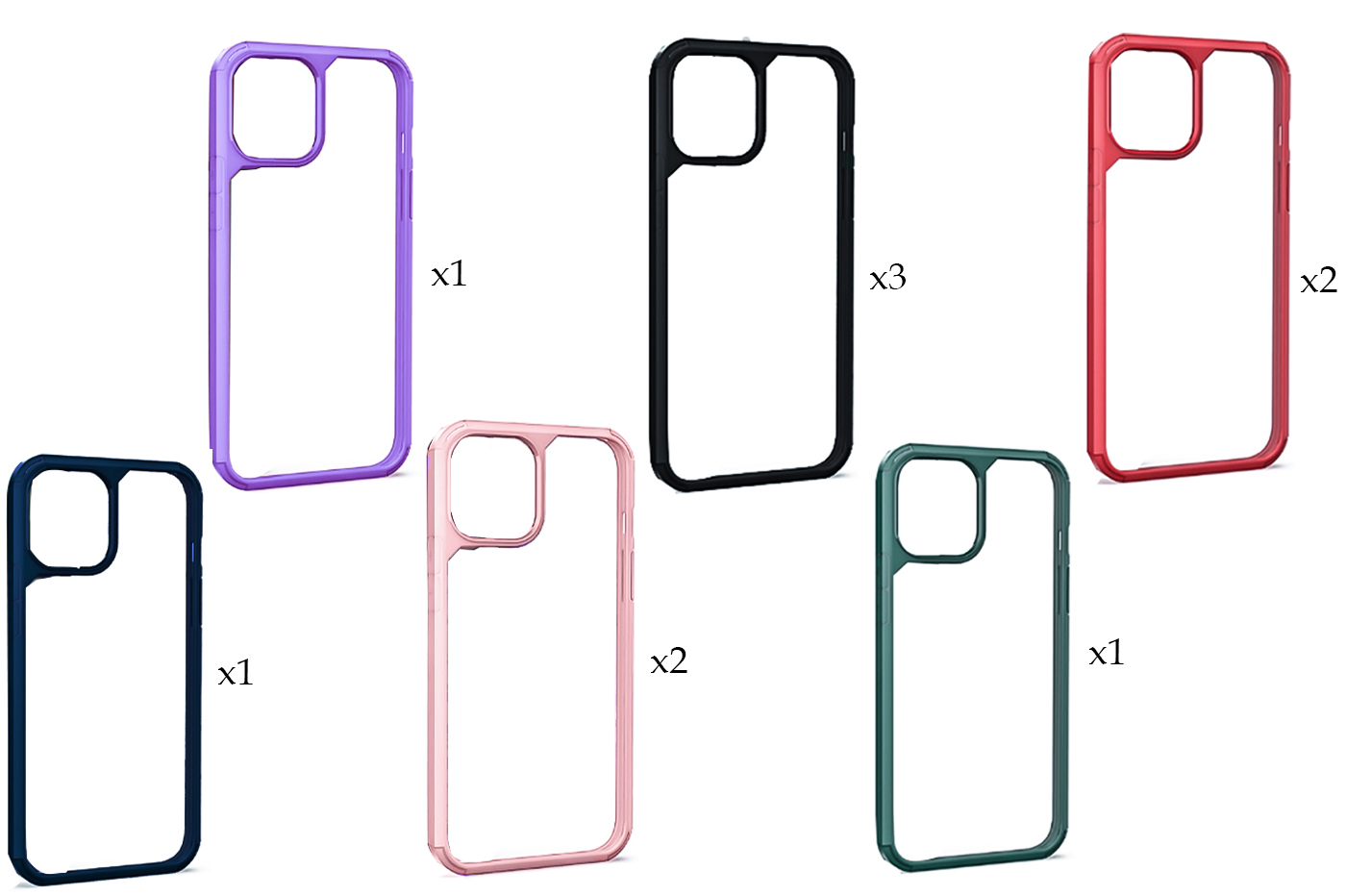 "10PZ Cover custodia compatibile iPhone 12 Mini 5.4"" trasparente cornice rigida"