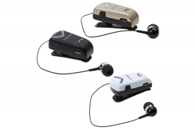 Cuffia auricolare bluetooth con clip cavo retrattile wireless F-V2