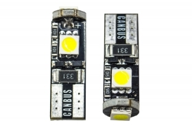 Coppia lampadine t10 12v 3 led smd canbus luce bianca auto t-020