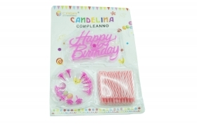 Candeline scritta happy birthday rosa torta festa party compleanno 61593