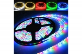 STRISCIA STRIP LED RGB 5 M METRI FLESSIBILE ADESIVA 5050 SMD 300 LED BASIC EACH