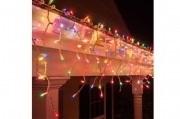 Catena luminosa led cascata pioggia multicolor 3.2m allungabile luci di natale