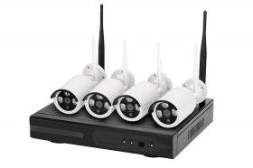 Kit NVR videosorveglianza 4 telecamere 3 LED 4 canali wireless full HD WiFi IP