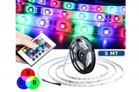 Striscia led rgb 5m adesiva 3528 multicolor telecomando bobina flessibile basic