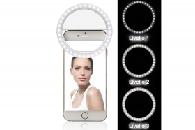 Anello flash portatile selfie foto clip cellulare ricaricabile selfie ring light
