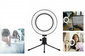Anello luminoso treppiedi led lampada make up 16cm ring luce dimmerabile