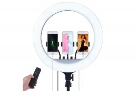 Anello luminoso treppiede tre supporti cellulare selfie video telecomando 15V