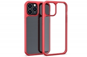 "Cover custodia compatibile iPhone 12 Mini 5.4"" trasparente cornice rossa rigida"