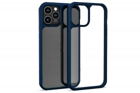 "Cover custodia compatibile IP 12 PRO 6.1"" trasparente cornice blu scura rigida"