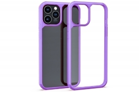 "Cover custodia compatibile iPhone 12 Mini 5.4"" trasparente cornice lilla rigida"
