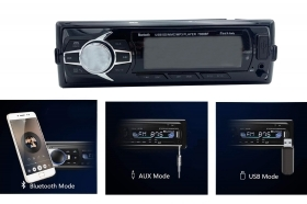 Autoradio stereo audio 250w bluetooth aux usb mp3 telecomando display lcd 7008
