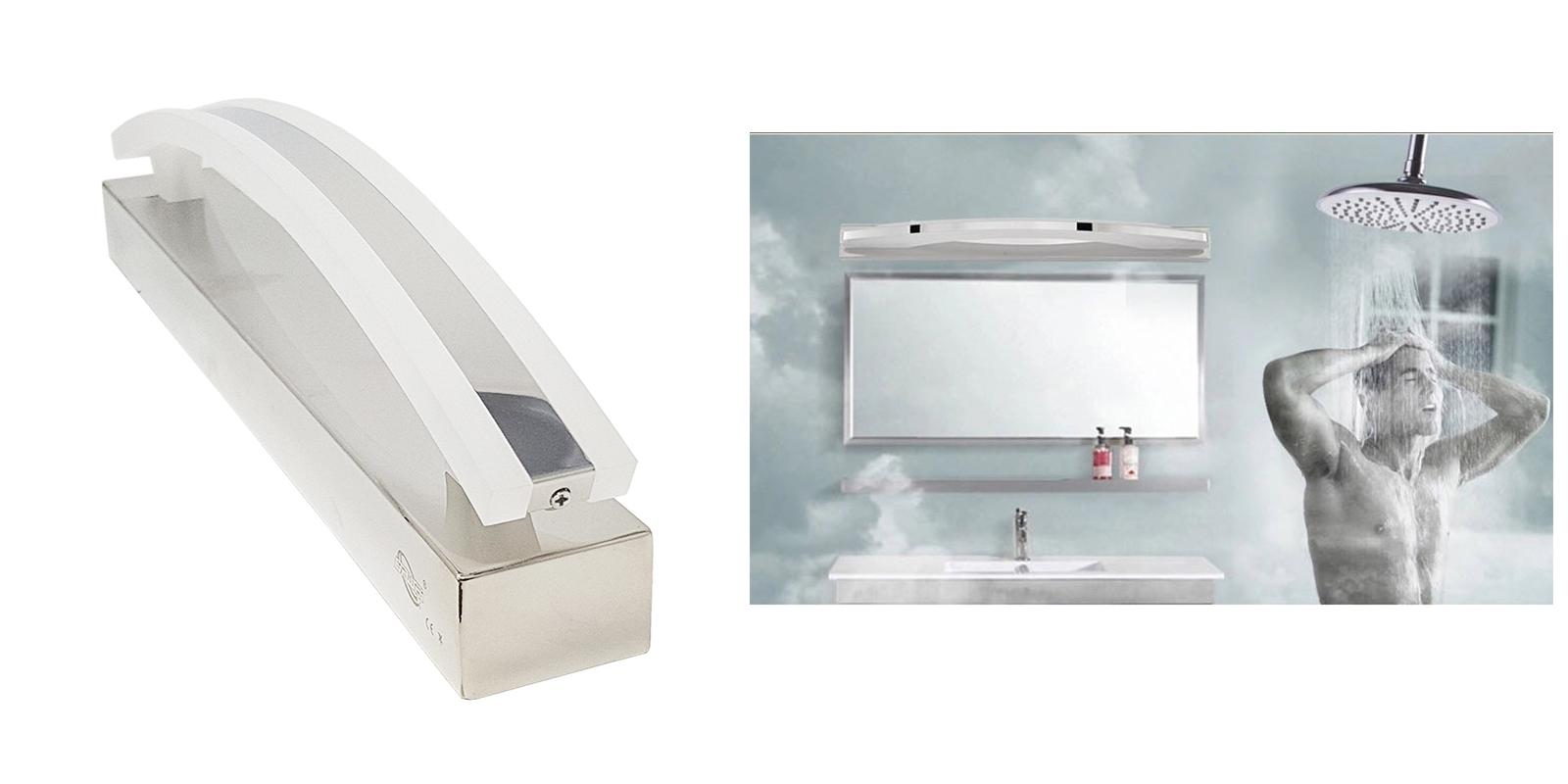Illuminazione Bagno A Parete applique lampada led 8w silver specchio bagno parete luce fredda 6200-8