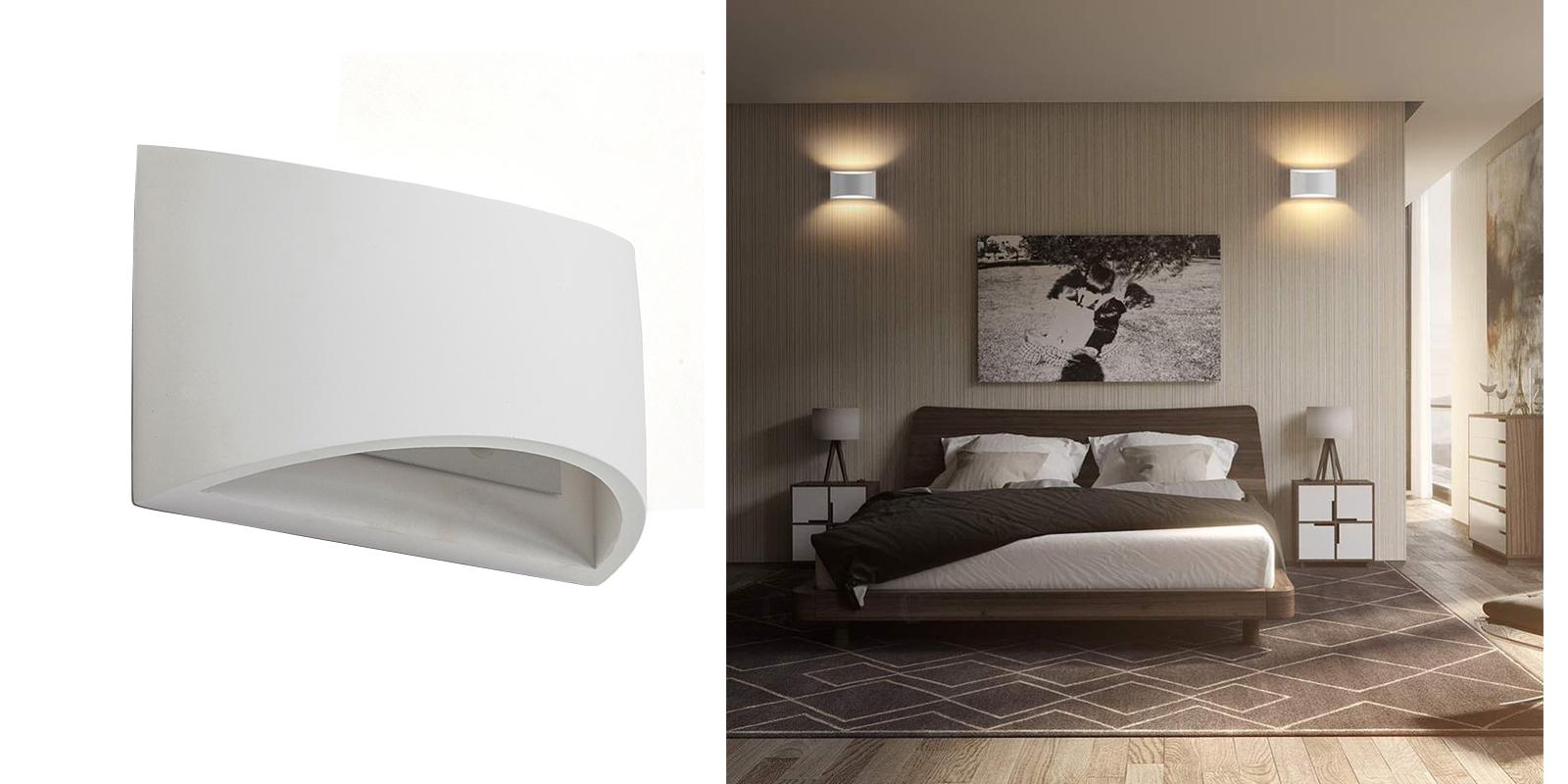 Applique Lampada Interno Rettangolare Gesso Bianco Moderno Luce Dr Gs 5022