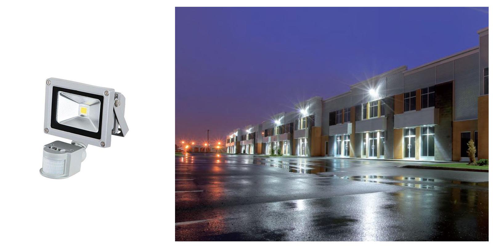 Faro led cob 30w faretto esterno luce fredda crepuscolare sensore movimento FY