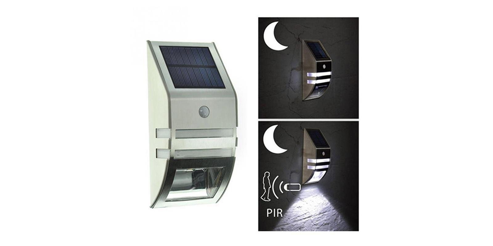 Luce Per Esterno Con Pannello Solare.Lampada Led Con Pannello Solare Crepuscolare Muro Sensore Esterno Luce Fredda