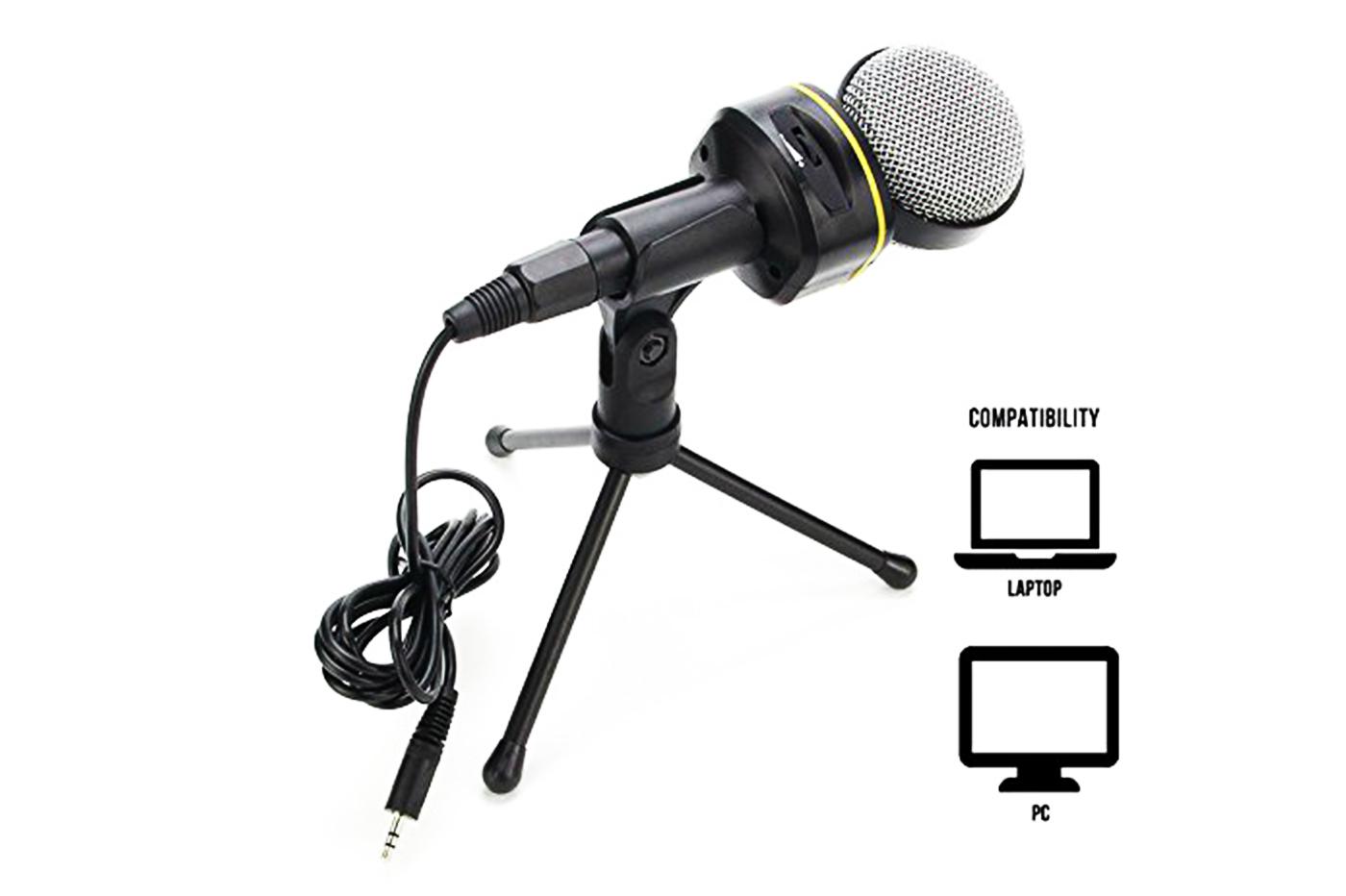 BES-25764 - Microfoni - beselettronica - Microfono a condensatore con treppiede da tavolo cavo jack pc laptop QY920-930