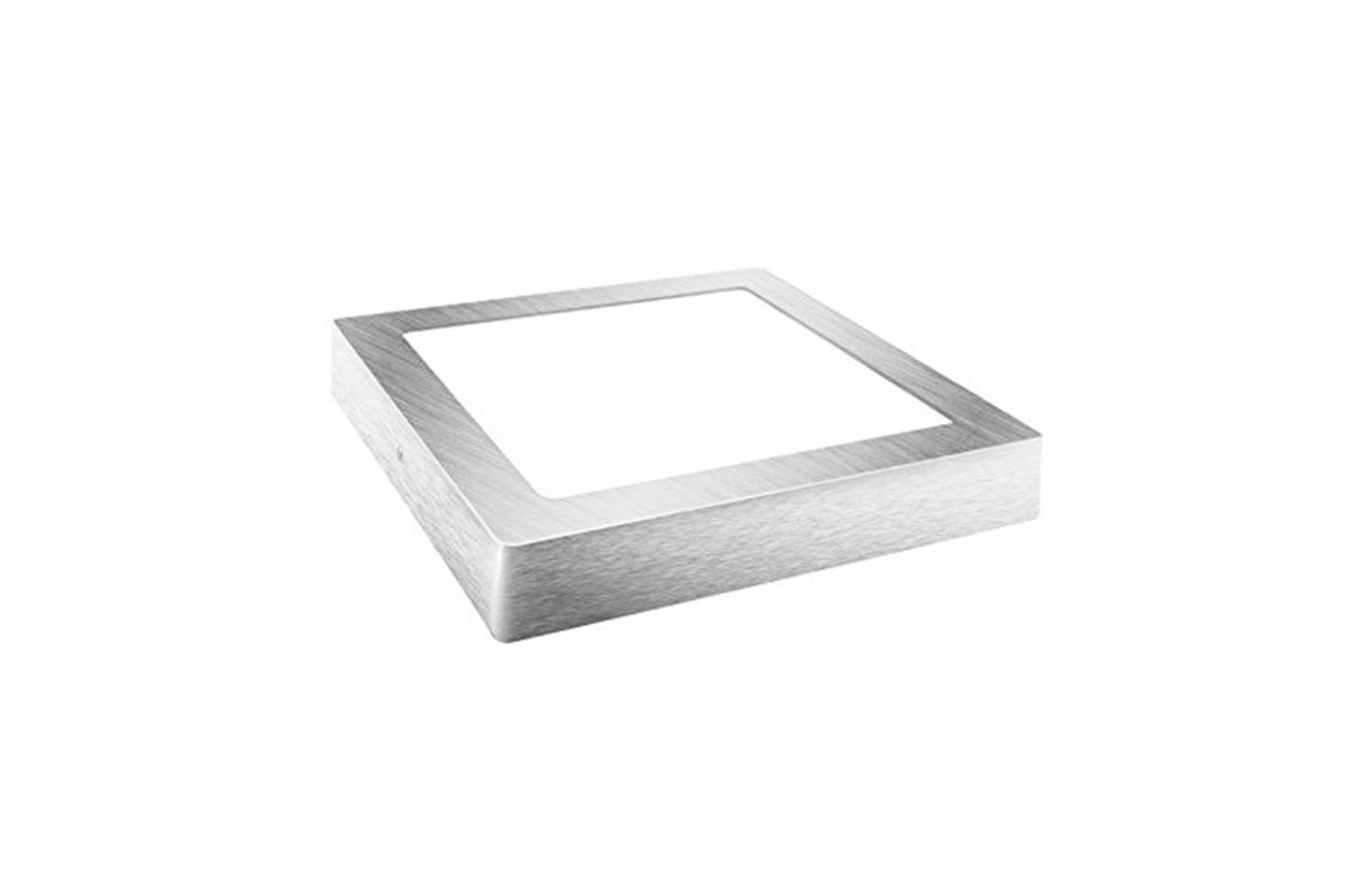 Plafoniera Led Quadrata : Plafoniera soffitto led 26w luce fredda quadrato argento specchiato