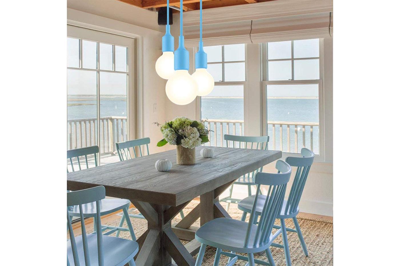 Lampadari Per Casa Al Mare dettagli su portalampada a sospensione pendente lampadario soffitto e27 blu  col-01