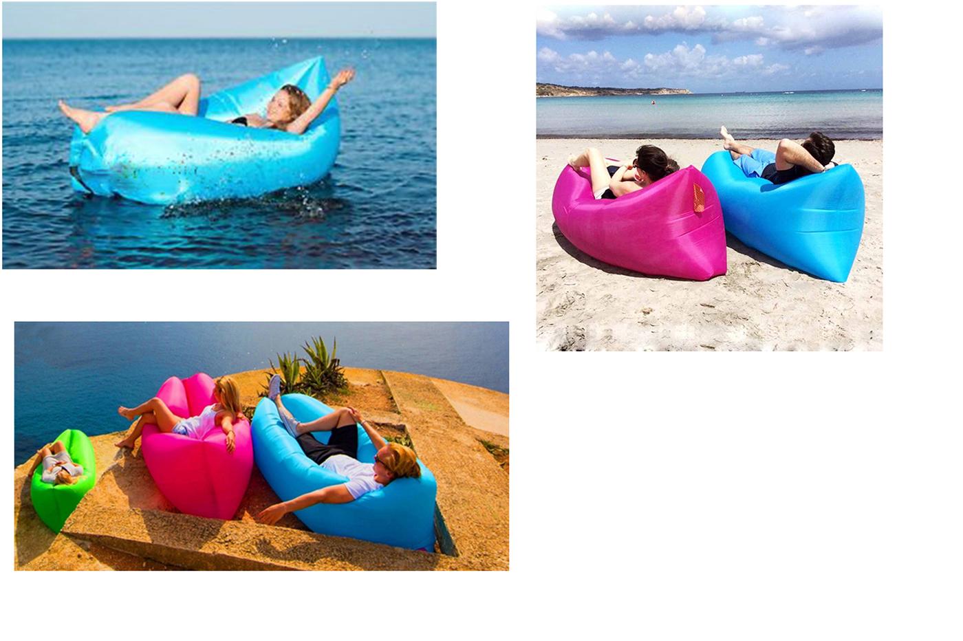 Lettino Gonfiabile Spiaggia.Divano Sacco Gonfiabile Aria Lettino Materassino Vacanze Mare Spiaggia Relax