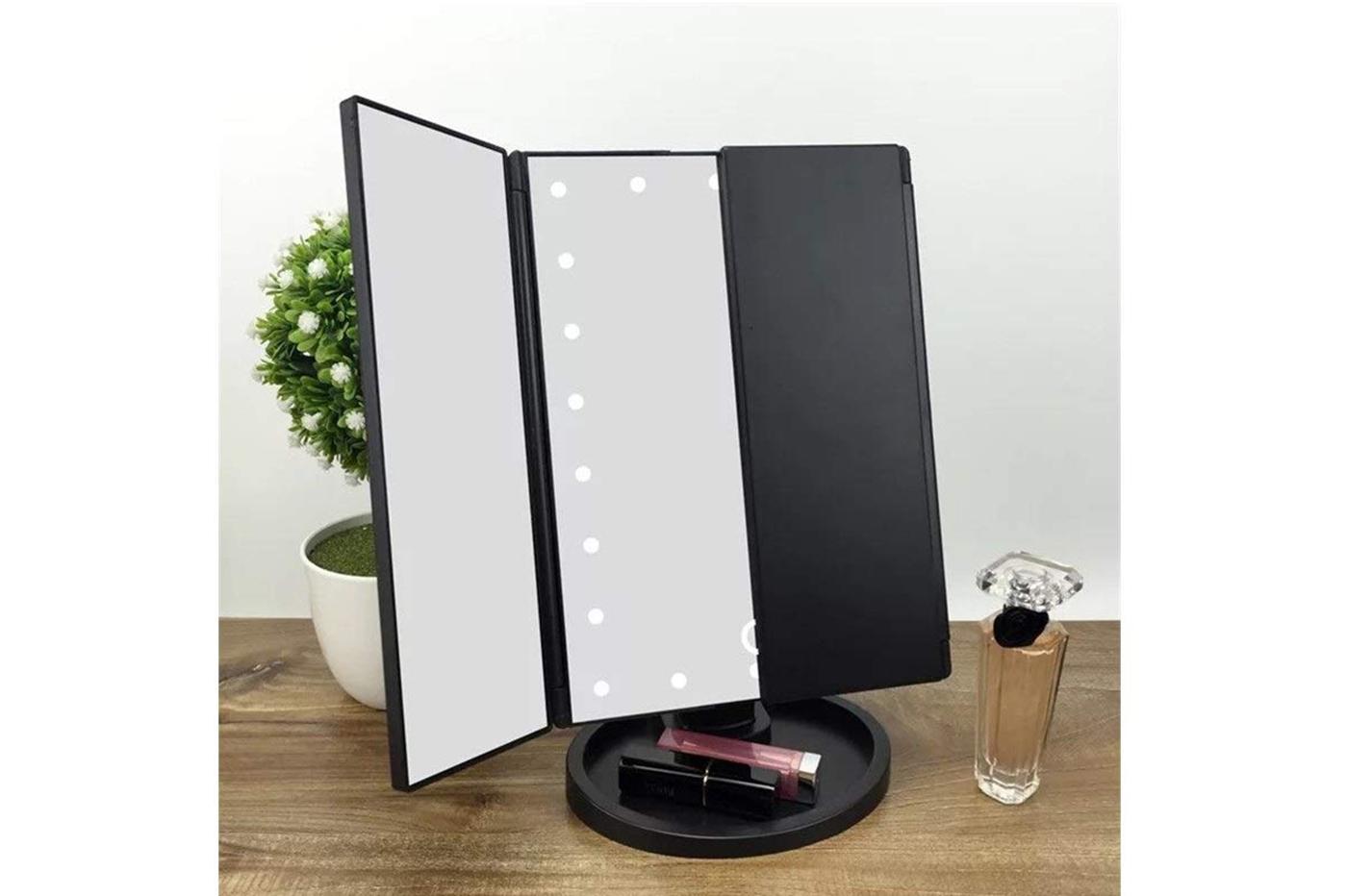 Specchi Con Luci Per Trucco.Specchio Trucco Rettangolare Luce Led Make Up Ingrandimento X2 X3 Rotante Touch